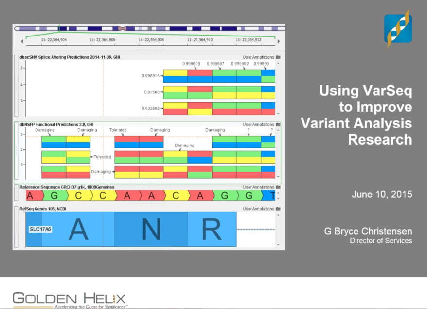 Using VarSeq to Improve Variant Analysis Research Workflows