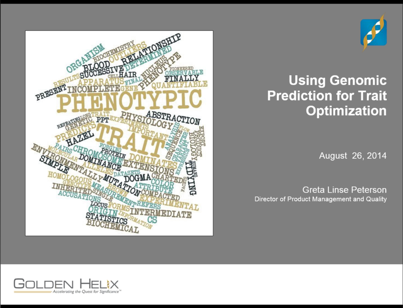 Using Genomic Prediction for Trait Optimization
